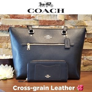 NEW Coach Leather Gallery Tote & Wallet